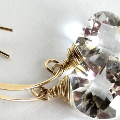 Sparkling gold rock crystal quartz natural gemstone earrings