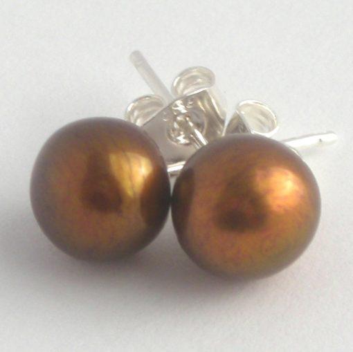 bronze pearl studs da