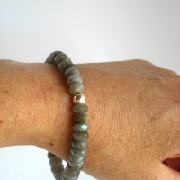 labradorite faceted stretch bracelet on a