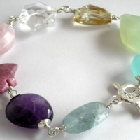 mixed gem bracelet pastel a