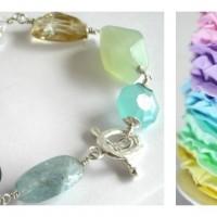 mixed stone linked bracelet pastel rainbow Collage