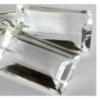 Icy clear AAA grade handcut rock crystal quartz earrings