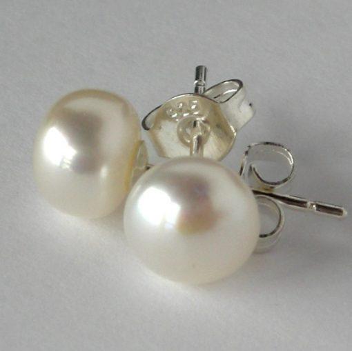 white pearl studs 7mm 1 da
