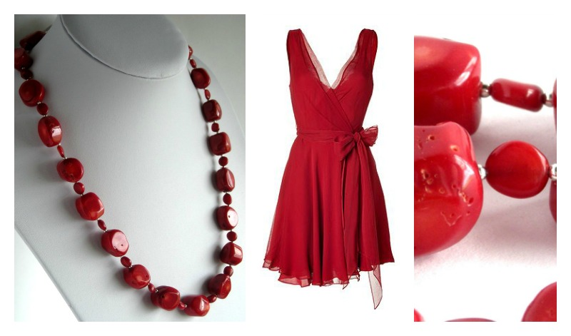 Kombe red coral necklace Collage