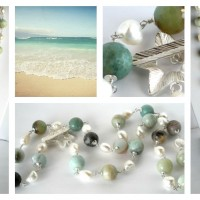 Thronia amazonite pearl necklace Collage