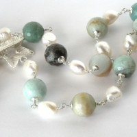 Thronia amazonite pearl necklace a