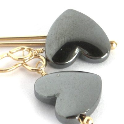 hematite heart earrings da