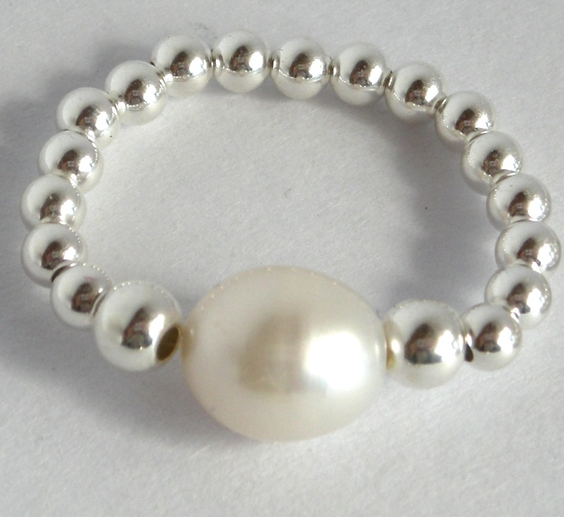 Sterling silver ball and pearl ring - Online store for exclusive ...