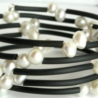 double white top drill pearl wrap bangle a